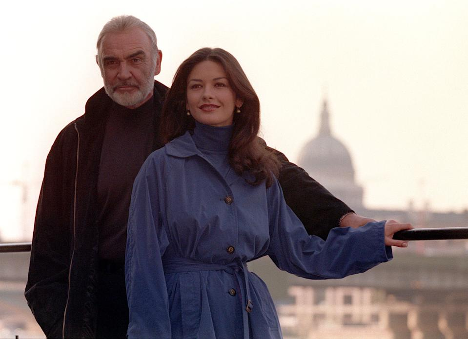 File photo dated 11/08/98 of Sean Connery and Catherine Zeta Jones in south east London for the filming of 'Entrapment'. Former James Bond actor Sir Sean Connery has died aged 90, his family have told the BBC.