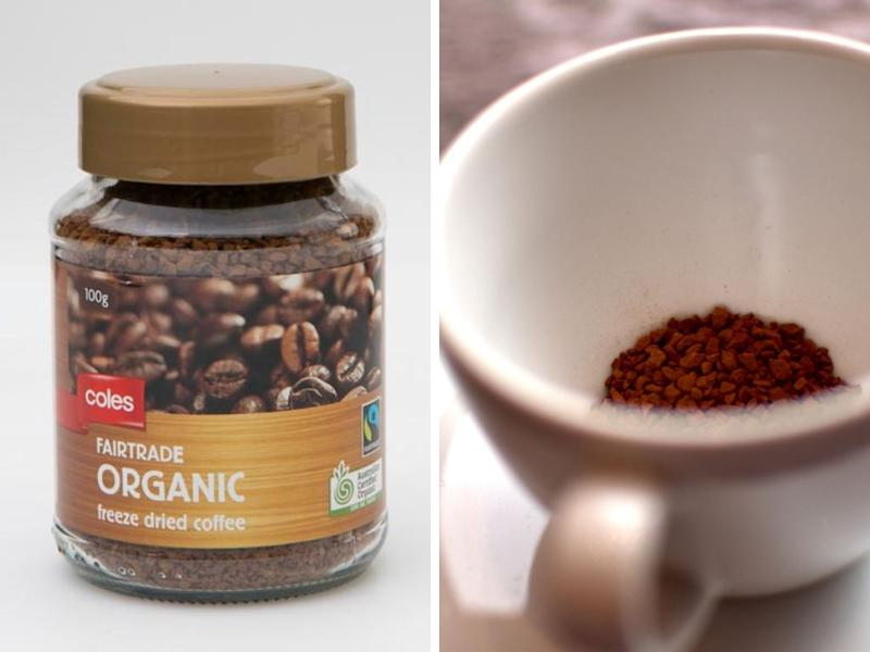 A photo of Coles Organic Fairtrade freeze dried coffee