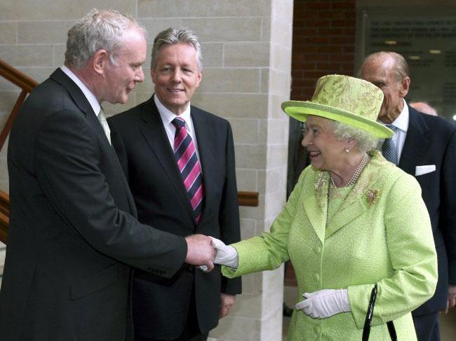 Queen Elizabeth shakes hands with Martin McGuinness in 2012 (Reuters)