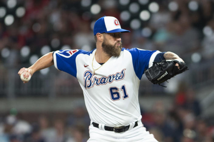 Atlanta Braves relief pitcher Shane Greene throws to a Milwaukee Brewers batter during the ninth inning of a baseball game Friday, July 30, 2021, in Atlanta. (AP Photo/Hakim Wright Sr.)