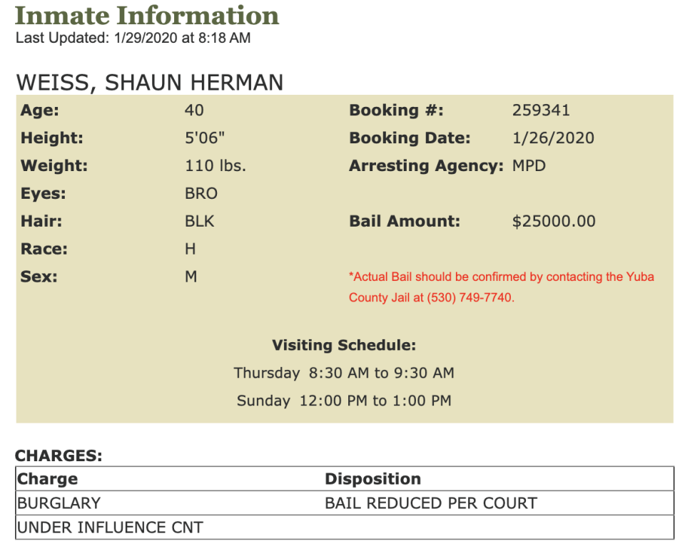 Shaun Weiss is charged with burglary and being under the influence of methamphetamine. (Screenshot: Yuba County Sheriff's Department)