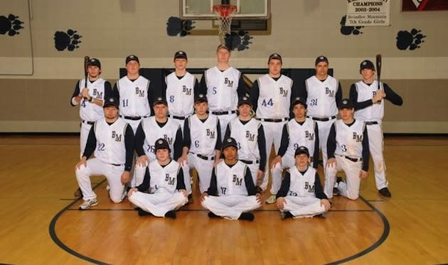 The Brindlee Mountain baseball team, without coach Nick Garner, as it will be for the rest of the 2013 season — Brindlee Mountain High School