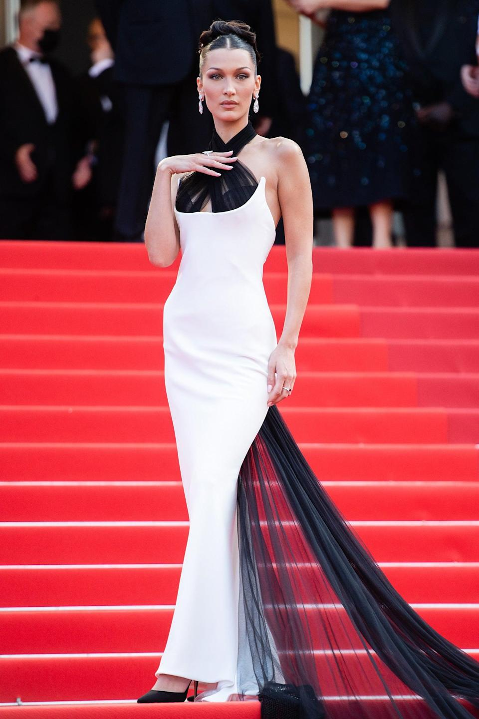 """Bella Hadid wore a Jean Paul Gaultier haute couture gown from 2002, originally worn by Naomi Campbell on the runway. <span class=""""copyright"""">Photo: Samir Hussein/WireImage.</span>"""