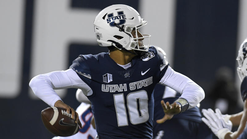 Utah State quarterback Jordan Love (10) throws the ball against Boise State during the first half of an NCAA college football game Saturday, Nov. 23, 2019, in Logan, Utah. (AP Photo/Eli Lucero)