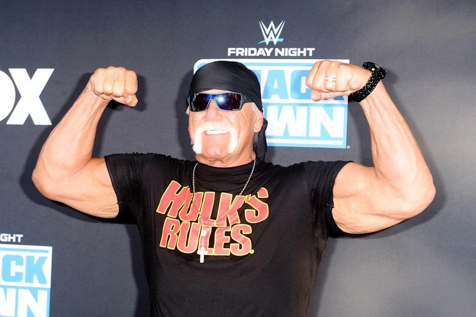 <p>Hulk Hogan shows off his rock hard biceps at the WWE 20th anniversary celebration. The former professional wrestler has clearly stayed in shape since his days in the ring. </p>