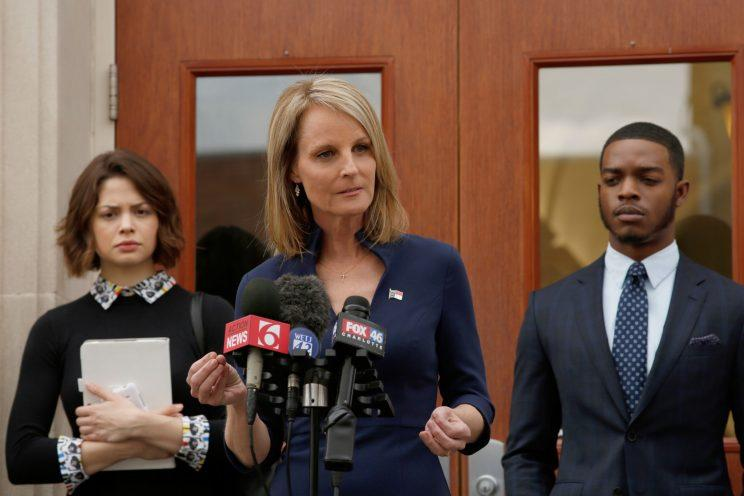 Conor Leslie, Helen Hunt, and Stephan James in Shots Fired