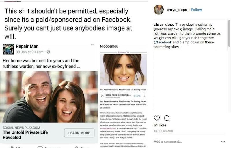 Her ex revealed the scam with this post. Source: Instagram