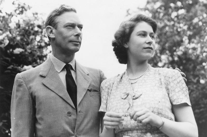 Queen Elizabeth with her late father King George (Granger/REX/Shutterstock)