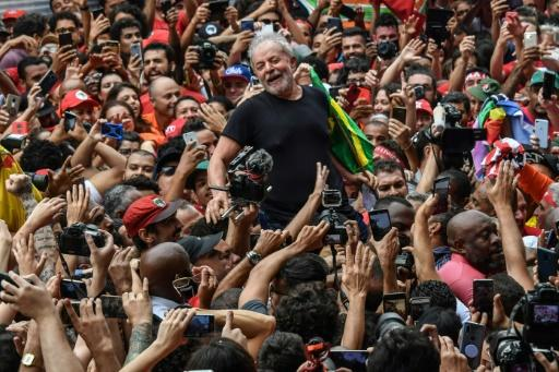 Brazil's former president Luiz Inacio Lula da Silva is carried on the shoulders of supporters outside the metalworkers' union building in Sao Bernardo do Campo, Brazil, on November 9, 2019