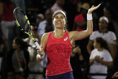 Mar 30, 2017; Miami, FL, USA; Johanna Konta of Great Britain salutes the crowd after her match against Venus Williams of the United States (not pictured) in a women's singles semi-final during the 2017 Miami Open at Crandon Park Tennis Center. Konta won 6-4, 7-5. Mandatory Credit: Geoff Burke-USA TODAY Sports