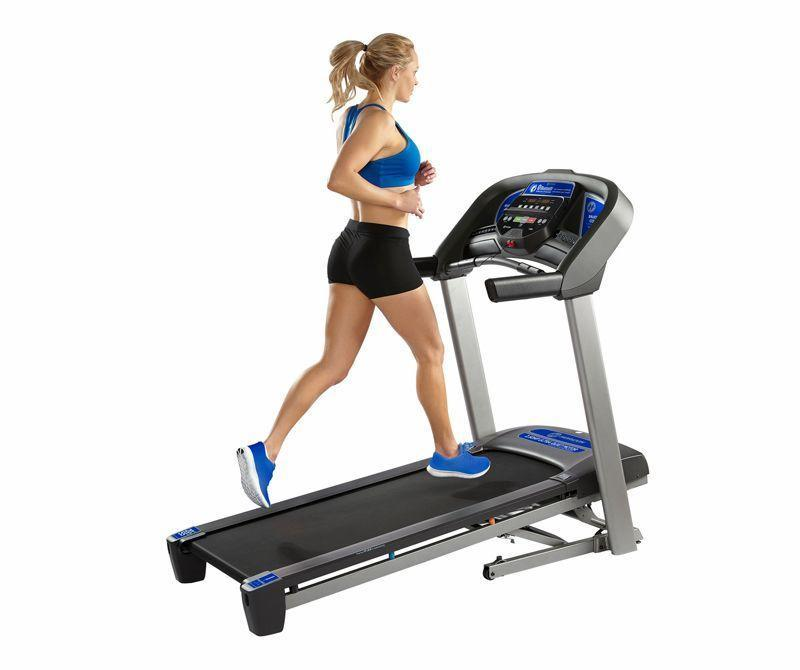 """<p><strong>Horizon Fitness</strong></p><p>dickssportinggoods.com</p><p><strong>$599.98</strong></p><p><a href=""""https://go.redirectingat.com?id=74968X1596630&url=https%3A%2F%2Fwww.dickssportinggoods.com%2Fp%2Fhorizon-fitness-t101-treadmill-18hrzut101trdmllxtrd&sref=https%3A%2F%2Fwww.redbookmag.com%2Flife%2Fg34807828%2Fblack-friday-treadmill-deals%2F"""" rel=""""nofollow noopener"""" target=""""_blank"""" data-ylk=""""slk:Shop Now"""" class=""""link rapid-noclick-resp"""">Shop Now</a></p><p>The T101 is one of Horizon's affordable models for those who believe 'mill runs should be simple and reliable. It checks all the boxes for essential features with built-in Bluetooth audio speakers, a powerful fan, quiet 2.5 horsepower motor, and speeds up to 10 mph from zero to 10 percent grades. It also has convenient add-ons that seem small, but make all the difference—like extra deep cup holders, a tablet or smartphone mount, a larger 22 x 50-inch belt, and lifetime warranties on the frame and motor. And for Black Friday, Dick's has knocked $400 off the price tag.<em><br></em></p><p><em>Originally $999.99</em></p>"""