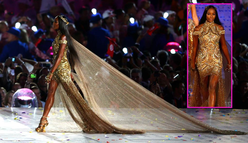 Naomi also showed off her fab 42-year-old figure in a McQueen creation at the ceremony, but went with an even more dramatic ensemble, which featured gold-metal embroidery, a headpiece, and a sheer, shimmery train ... perfect for workin' it on the runway. (8/12/2012)