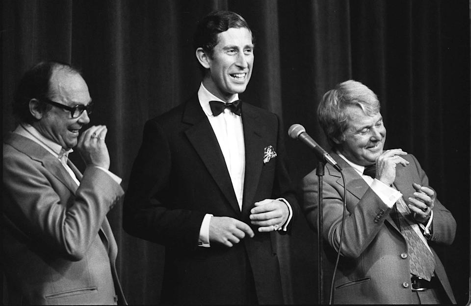 <p>Charles on stage with comedy duo Eric Morecambe and Ernie Wise during their special Royal Charity Show in aid of the Queen's Jubilee Appeal, in 1977 (PA) </p>