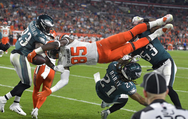 Cleveland Browns tight end David Njoku (85) is up-ended during the first half of an NFL preseason football game against the Philadelphia Eagles, Thursday, Aug. 23, 2018, in Cleveland. (AP Photo/David Richard)