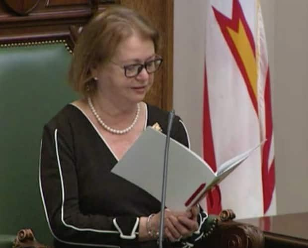 Lt.-Gov. Judy Foote reads the speech from the throne at the House of Assembly on Thursday. (House of Assembly - image credit)