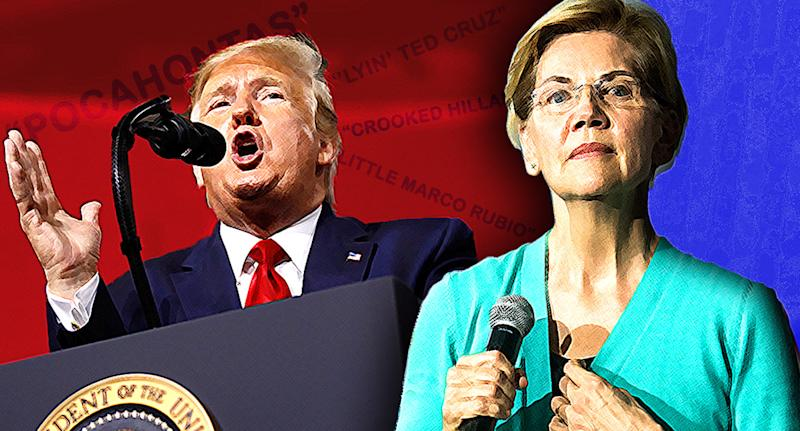 President Donald Trump and Sen. Elizabeth Warren. (Photo illustration: Yahoo News; photos: Patrick Semansky/AP, Sean Rayford/Getty Images)