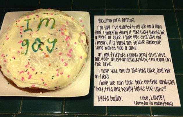 Laurel's cake and note to her parents (tumblr user ellende-generes)