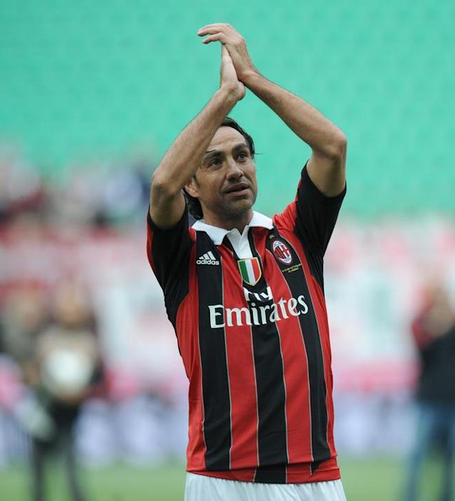(From C) AC Milan's Alessandro Nesta applauds on the pitch at the end of the Italian Serie A football match between AC Milan vs Novara on May 13, 2012 in Milan. Filippo Inzaghi, Gennaro Gattuso and Alessandro Nesta end their AC Milan careers against Novara on Sunday as the end of an era is all but completed at the San Siro. AFP PHOTO / ALBERTO LINGRIAALBERTO LINGRIA/AFP/GettyImages