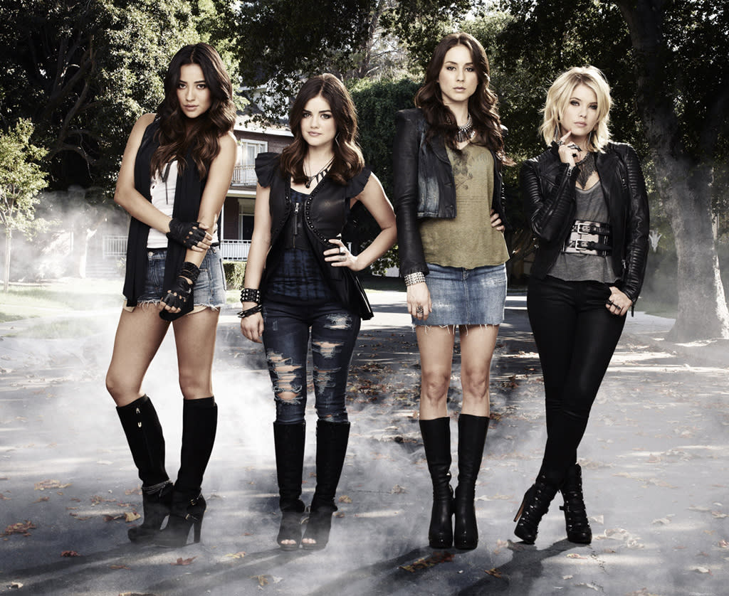 "ABC Family's ""Pretty Little Liars"" stars Shay Mitchell as Emily Fields, Lucy Hale as Aria Montgomery, Troian Bellisario as Spencer Hastings and Ashley Benson as Hanna Marin."