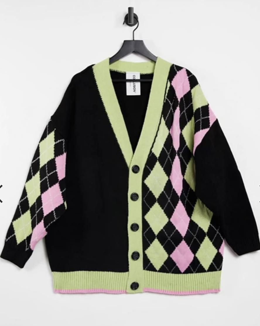 <p>We're obsessed with the lively print of this <span>Collusion Spliced Argyle Cardigan</span> ($40).</p>