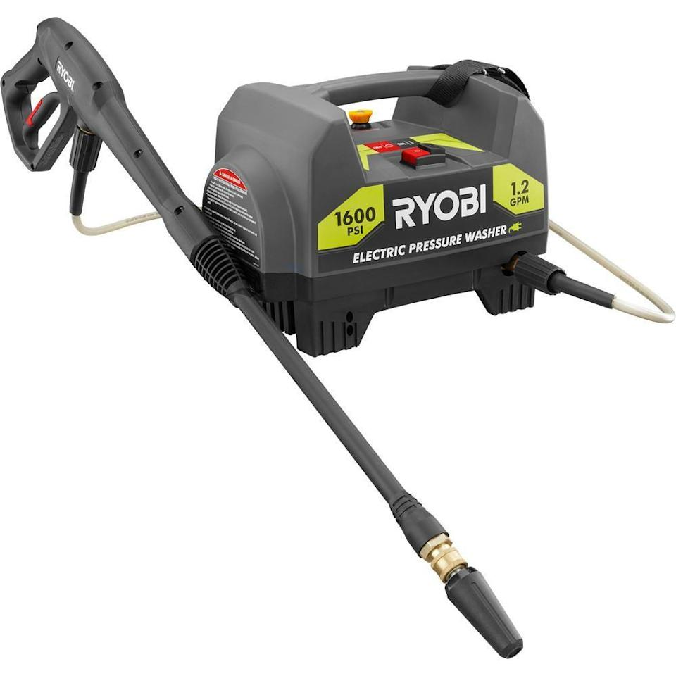 """<p><strong>RYOBI</strong></p><p>homedepot.com</p><p><strong>$99.00</strong></p><p><a href=""""https://go.redirectingat.com?id=74968X1596630&url=https%3A%2F%2Fwww.homedepot.com%2Fp%2FRYOBI-1-600-PSI-1-2-GPM-Electric-Pressure-Washer-RY141612%2F301004462&sref=https%3A%2F%2Fwww.goodhousekeeping.com%2Fhome%2Fcleaning%2Fg33460230%2Fbest-pressure-washers%2F"""" rel=""""nofollow noopener"""" target=""""_blank"""" data-ylk=""""slk:SHOP NOW"""" class=""""link rapid-noclick-resp"""">SHOP NOW</a></p><p>Consider this machine a smaller, more accessible version of our top pick. The compact, lightweight <strong>weighs just over 16 pounds, yet offers enough power for most household tasks. </strong>Plus, it comes with three nozzles, including a turbo option for 50% faster cleaning. It's a great option for anyone who thinks portability may be a consideration, since it's easy enough to tote to a boat dock or a campsite. </p>"""