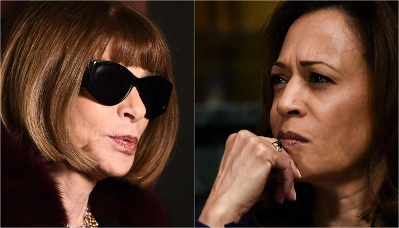 Anna Wintour during London Fashion Week on February 20, 2017 in London, England; Sen. Kamala Harris (D-CA) listens during a Senate Judiciary Committee confirmation hearing with professor Christine Blasey Ford on Capitol Hill, September 27, 2018 in Washington, DC.