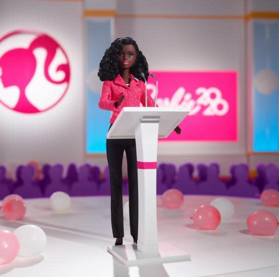New doll set includes a black female presidential candidate dressed in a pink blazer (Mattel)