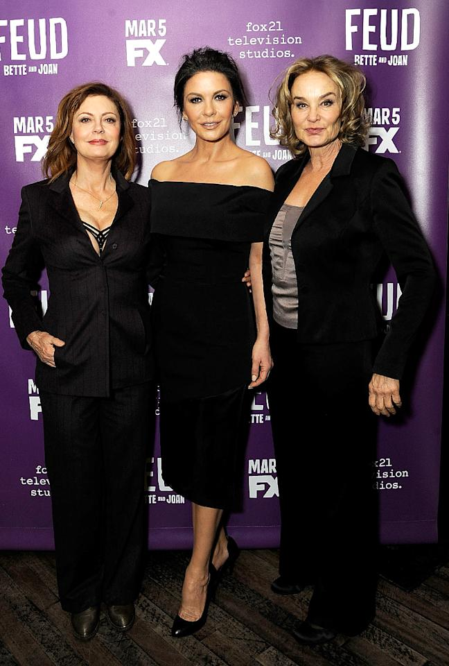 "<p>Susan Sarandon, Catherine Zeta-Jones, and Jessica Lange play vintage Hollywood screen stars who didn't always get along in the upcoming FX show <i>Feud</i>, but they were happy to pose together at a dinner honoring the Ryan Murphy-created project. ""I think their feud was out of fear and fear of losing what they had,"" Zeta-Jones said. ""Today I feel like women should really hold onto one another and hold each other up, not push each other down."" (Photo: Rabbani and Solimene Photography/Getty Images) </p>"