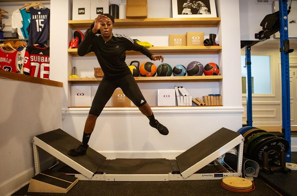 Chiney Ogwumike begins her day with a workout at her physiotherapist's office on March 9, 2020.