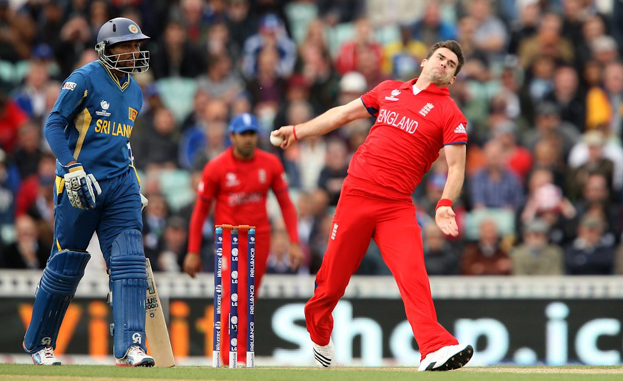 England's James Anderson in action during the ICC Champions Trophy match at The Kia Oval, London.