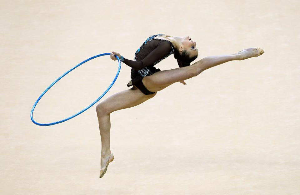 LONDON, ENGLAND - JANUARY 18: Ganna Rizatdinova of Ukraine in action in the Individual All-Around Final during the FIG Rhythmic Gymnastics at North Greenwich Arena on January 18, 2012 in London, England. (Photo by Ian Walton/Getty Images)