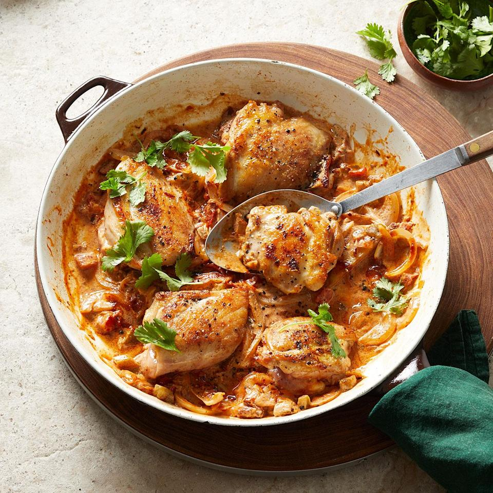 <p>Smoky chipotle is the star of this one-skillet chicken thigh recipe. Great for weeknight dinners, this can be on the table in under 30 minutes. Serve with tortillas or over rice or low-carb cauliflower rice with a simple cabbage slaw.</p>