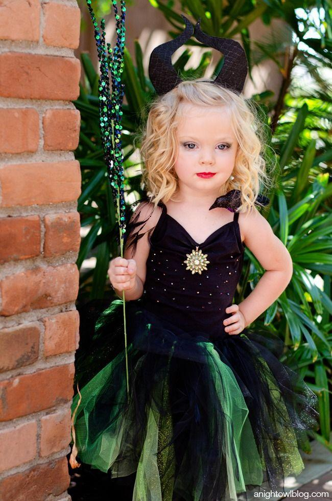 """<p>Not all little girls want to dress up like princesses! Pair horns and a sparkly staff for this pint-sized take on Maleficent.</p><p><strong>Get the tutorial at <a href=""""https://www.anightowlblog.com/maleficent-halloween-costume/"""" rel=""""nofollow noopener"""" target=""""_blank"""" data-ylk=""""slk:A Night Owl"""" class=""""link rapid-noclick-resp"""">A Night Owl</a>.</strong></p>"""
