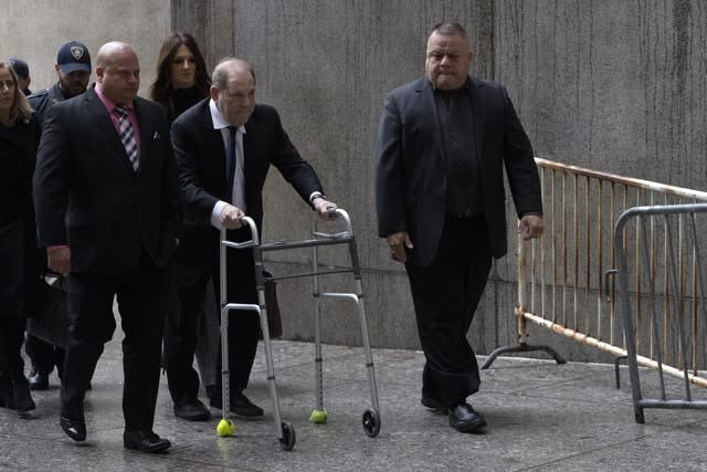 Harvey Weinstein arriving at court