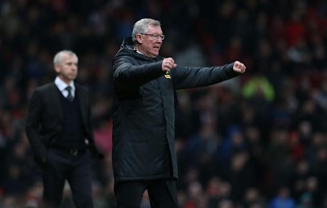 MANCHESTER, ENGLAND - DECEMBER 26: Manager Sir Alex Ferguson of Manchester United celebrates at the final whistle during the Barclays Premier League match between Manchester United and Newcastle United at Old Trafford on December 26, 2012 in Manchester, England. (Photo by Matthew Peters/Man Utd via Getty Images)