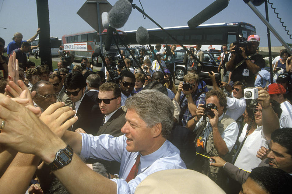 Governor Bill Clinton shakes hands at an unscheduled bus stop on the Clinton/Gore 1992 Buscapade campaign tour in Texas.