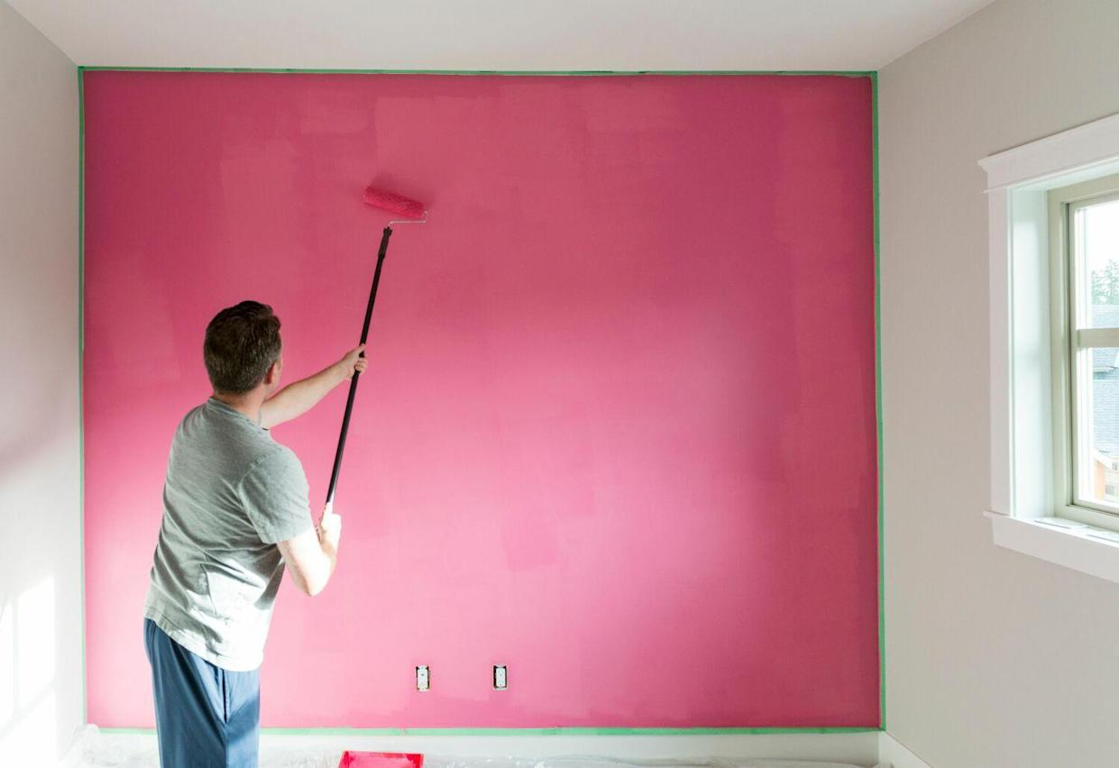 painting pink wall