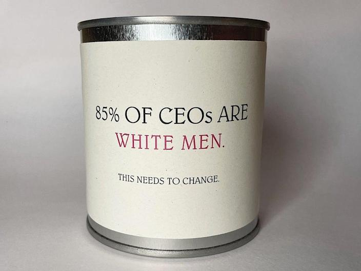 '85% of CEOs are white men' candle (Flaming Crap/Lightning Travel Receruitment)