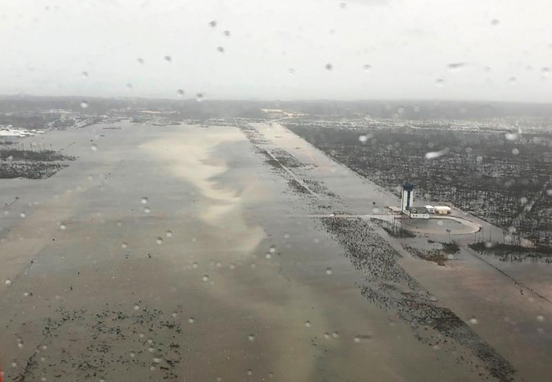 A U.S. Coast Guard photo taken Monday shows intenseflooding on the runway of Marsh Harbour Airport, which serves the Abaco Islands.