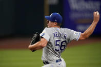Kansas City Royals starting pitcher Brad Keller throws during the second inning of a baseball game against the St. Louis Cardinals Monday, Aug. 24, 2020, in St. Louis. (AP Photo/Jeff Roberson)