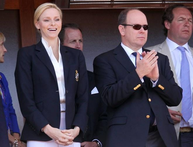 (LtoR) Charlene of Monaco and Prince's Albert II of Monaco attend the Monte-Carlo ATP Masters Series Tournament tennis final match, on April 22, 2012 in Monaco. Spain's Rafael Nadal won the Monte-Carlo Masters, defeating world number one Serbia's Novak Djokovic 6-3, 6-1 in the final. AFP PHOTO SEBASTIEN NOGIER