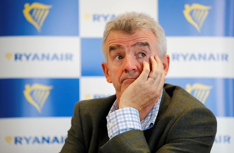 "Ryanair CEO Michael O'Leary attends a press conference in London on September 12, 2018. - Ryanair will not ""roll over"" in the face of strikes by pilots and cabin crew, the Irish airline's boss Michael O'Leary said Wednesday amid a German walkout he called ""unsuccessful"". O'Leary was answering questions at a London press conference as Ryanair staff in Germany disrupted travel for thousands of passengers. (Photo by Tolga AKMEN / AFP) (Photo credit should read TOLGA AKMEN/AFP/Getty Images)"