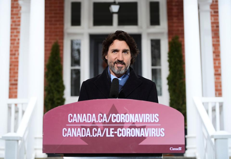 Prime Minister Justin Trudeau provides an update on the COVID-19 pandemic from Rideau Cottage in Ottawa on Jan. 11, 2021.    (Photo: Sean Kilpatrick/CP)