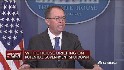 OMB Director Mick Mulvaney discusses a potential government shutdown at a White House press briefing.