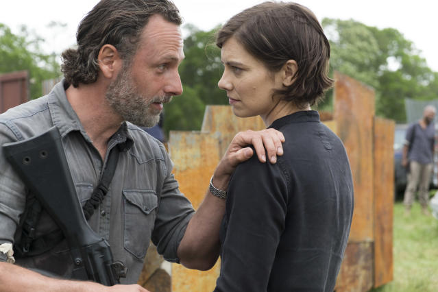 <p>Andrew Lincoln as Rick Grimes and Lauren Cohan as Maggie Greene in AMC's <i>The Walking Dead</i>.<br>(Photo: Gene Page/AMC) </p>