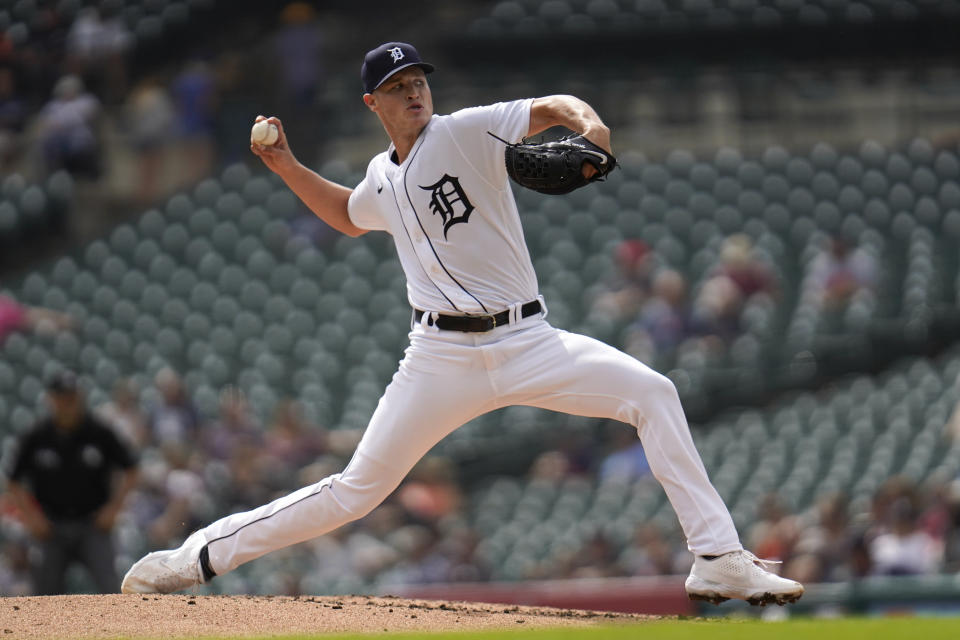 Detroit Tigers pitcher Matt Manning throws against the Milwaukee Brewers in the fourth inning of a baseball game in Detroit, Wednesday, Sept. 15, 2021. (AP Photo/Paul Sancya)