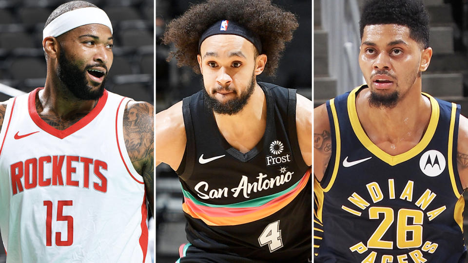DeMarcus Cousins, Derrick White and Jeremy Lamb, pictured here in the NBA.