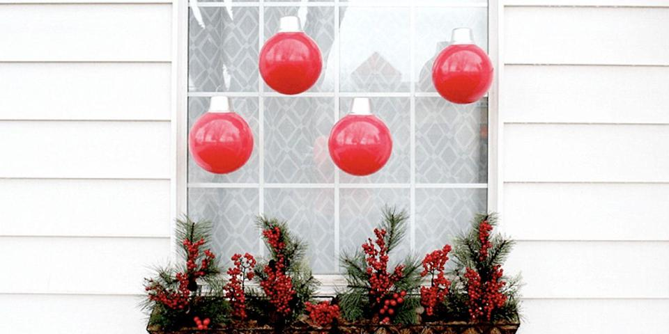 """<p>These DIY oversized ornaments for your windows are made with an unlikely material: plastic bouncy ball!</p><p><strong>Get the tutorial at <a href=""""https://www.onegoodthingbyjillee.com/how-to-make-oversized-ornaments"""" rel=""""nofollow noopener"""" target=""""_blank"""" data-ylk=""""slk:One Good Thing by Jillee"""" class=""""link rapid-noclick-resp"""">One Good Thing by Jillee</a>.<br><br><a class=""""link rapid-noclick-resp"""" href=""""https://www.amazon.com/WALIKI-Hippity-Hopping-Kangaroo-Included/dp/B00P2VPI1S?tag=syn-yahoo-20&ascsubtag=%5Bartid%7C10050.g.23343056%5Bsrc%7Cyahoo-us"""" rel=""""nofollow noopener"""" target=""""_blank"""" data-ylk=""""slk:SHOP TOY BALLS"""">SHOP TOY BALLS</a></strong><strong><br></strong></p>"""