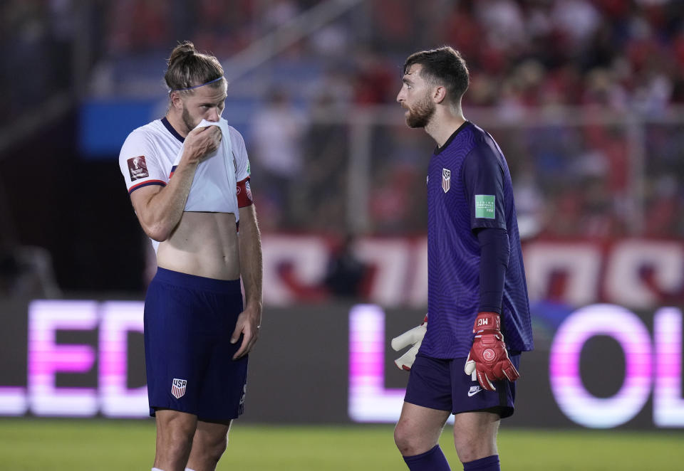 United States´ goalkeeper Matt Turner, right and United State's Walker Zimmerman react after Panama scored a goal during a qualifying soccer match for the FIFA World Cup Qatar 2022 at Rommel Fernandez stadium, Panama city, Panama, Sunday, Oct. 10, 2021. (AP Photo/Arnulfo Franco)