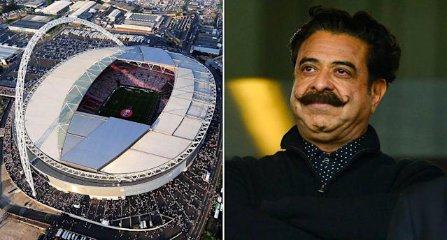 The FA have confirmed they've received a bid to purchase Wembley Stadium, thought to be from Fulham owner Shahid Khan. (Rex/Getty)